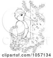 Clipart Illustration of a Blue Woodpecker With A Red Head