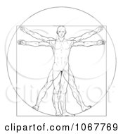 Clipart of a Black and White Leonard Da Vinci Vitruvian