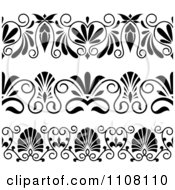 Clipart of a Black and White Ornate Swirl Border Design