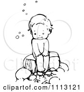 Cartoon Of A Happy Mother Or Girl Kneeling And Holding A