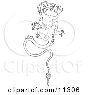 Vintage Black And White Dragon Design With A Curled Leafy