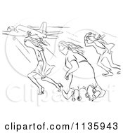 Clipart White Man Holding Onto A Flag Pole In High Winds