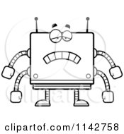 Cartoon Clipart Of A Black And White Smart Box Robot