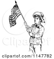 Clipart Vintage Black And White Waving American Flag