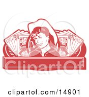 Pretty Cowgirl With A Mole Wearing A Hat And Standing Between Hands Of Playing Cards On A Red Banner Clipart Illustration by Andy Nortnik