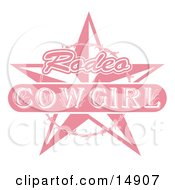 Pink Rodeo Cowgirl Sign With A Star And Barbed Wire Clipart Illustration by Andy Nortnik