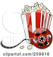 Royalty Free RF Clipart Illustration Of A Bucket Of Popcorn With A Film Reel by Elaine Barker
