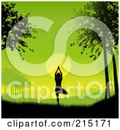 Royalty Free RF Clipart Illustration Of A Silhouetted Yoga Woman Against A Green Dawn by KJ Pargeter