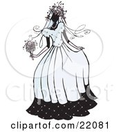 Clipart Picture of a Happy Lady In A Patterned Dress, Hat