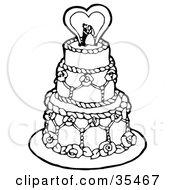 Elegant White Three Tiered Wedding Cake With Elaborate