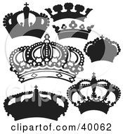 crowns clipart kings silhouetted illustration rf illustrations royalty elegant gold