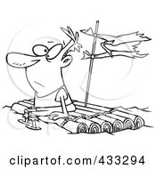 Clipart of a Castaway Man Climbing a Coconut Tree