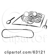 Royalty-Free (RF) Clipart of Spaghetti And Meatballs