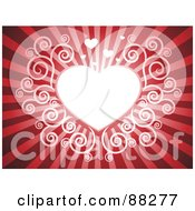 Royalty Free RF Clipart Illustration Of A White Swirl Heart On A Red Shining Background by Qiun