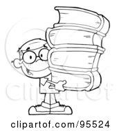 Clipart of a Happy White School Boy Geek Wearing Glasses