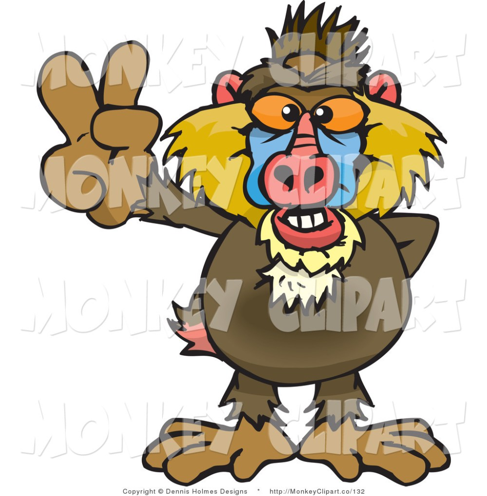 medium resolution of baboon clipart clip art of a peaceful baboon