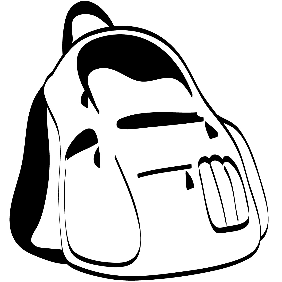 Kid With Backpack Clipart Black And White