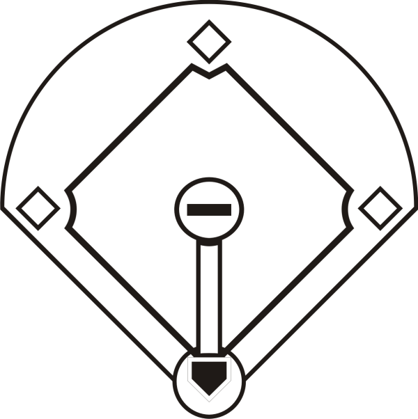 black and white baseball field