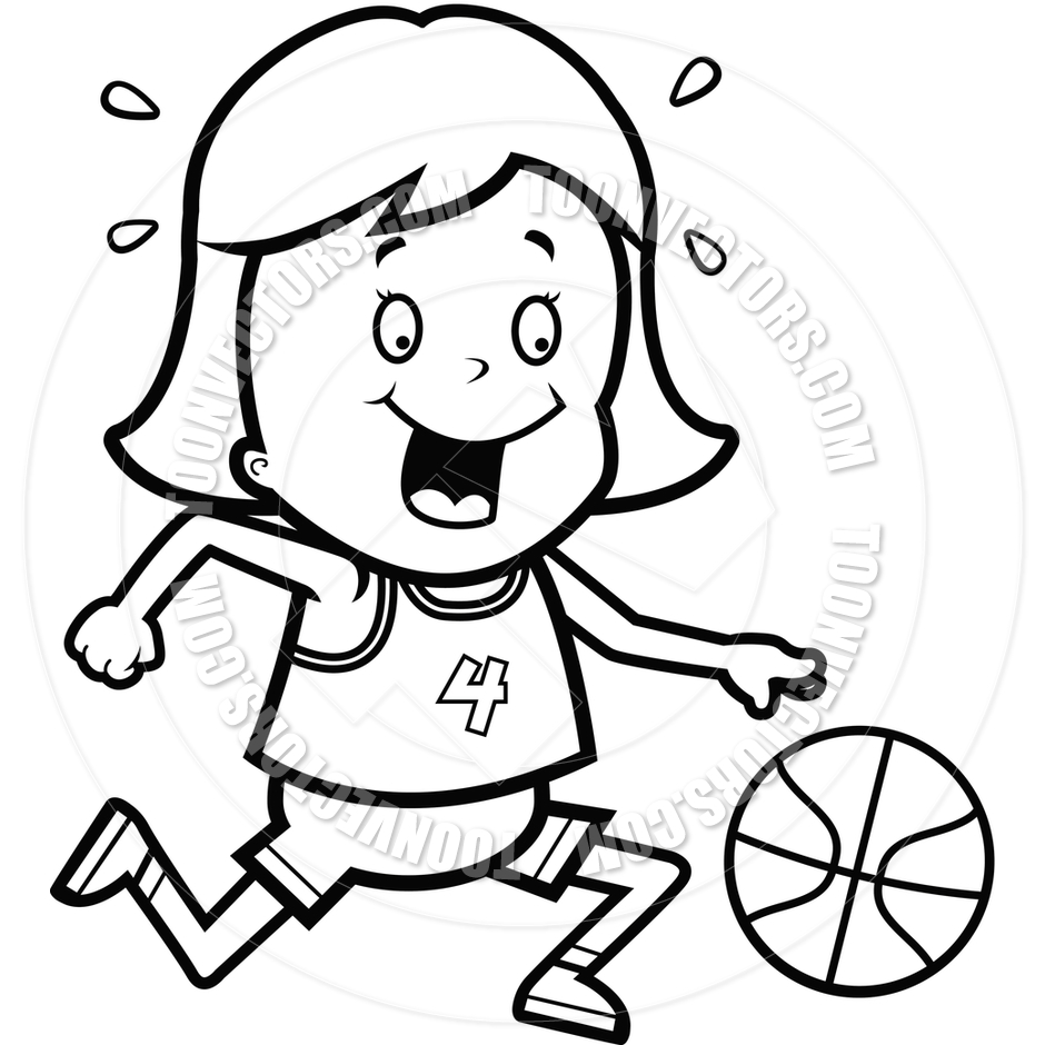 hight resolution of basketball player clipart black and white