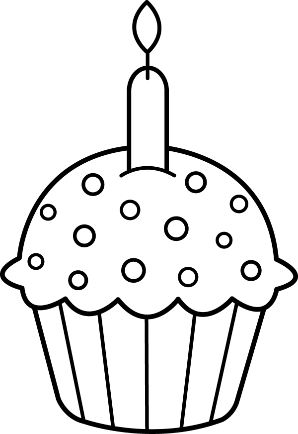 cupcake outline clipart black