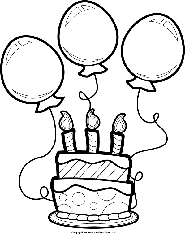 birthday balloons and cake clip