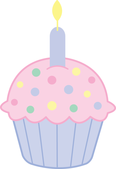pink birthday cupcakes clipart