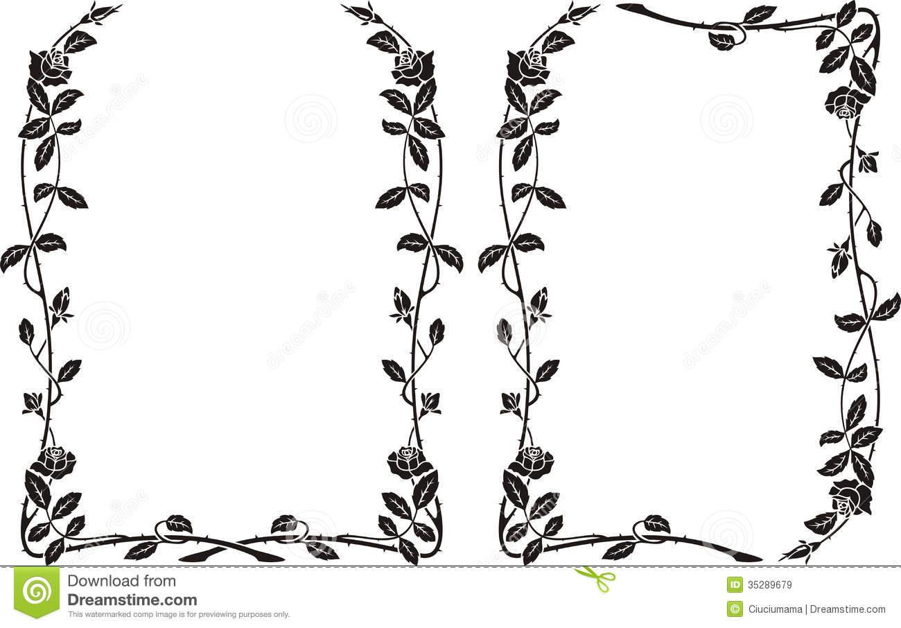 Knumathise Rose Border Clipart Black And White Images