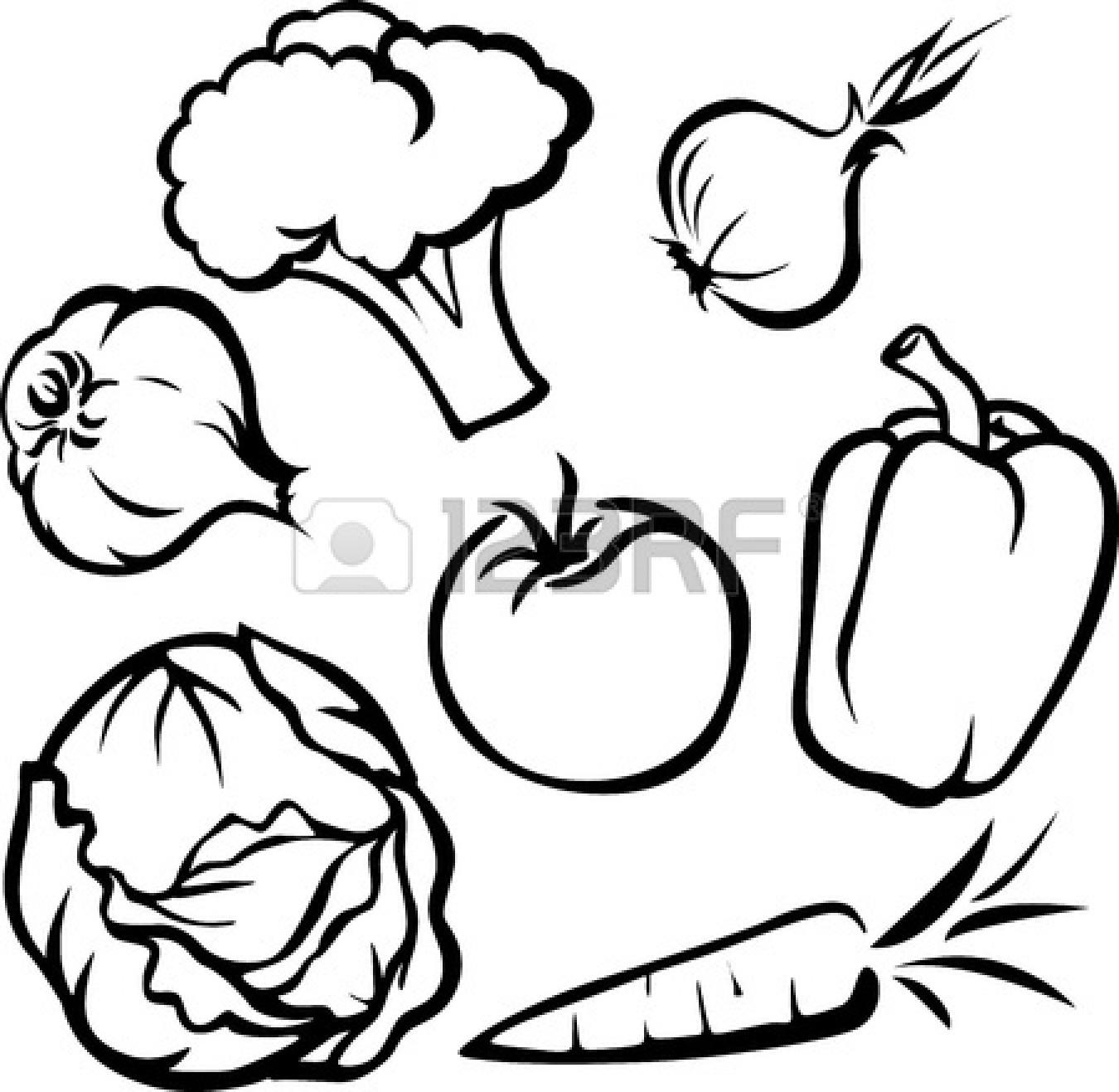 Vegetables Clipart Black And White Border