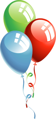three color balloons clipart