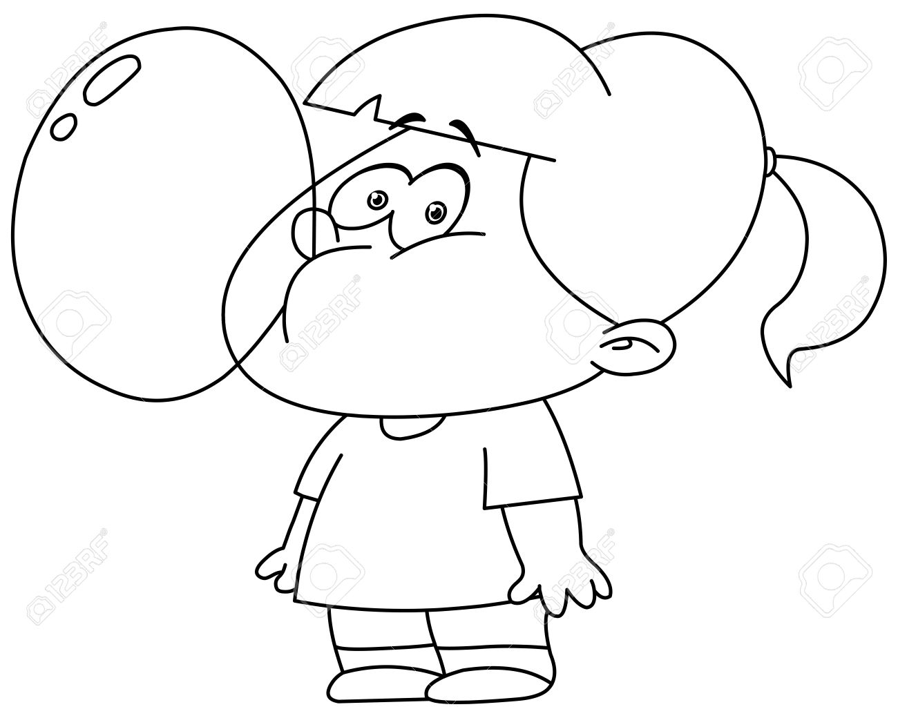 Blowing Bubbles Coloring Page Sketch Coloring Page