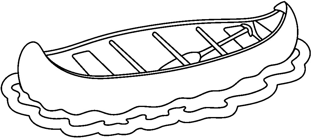 Free Canoe Clip Art Black And White Outline Sketch