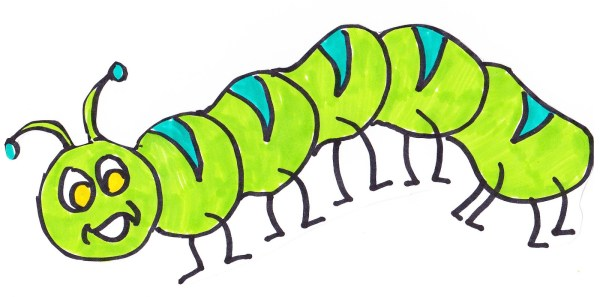 caterpillar clipart black and white