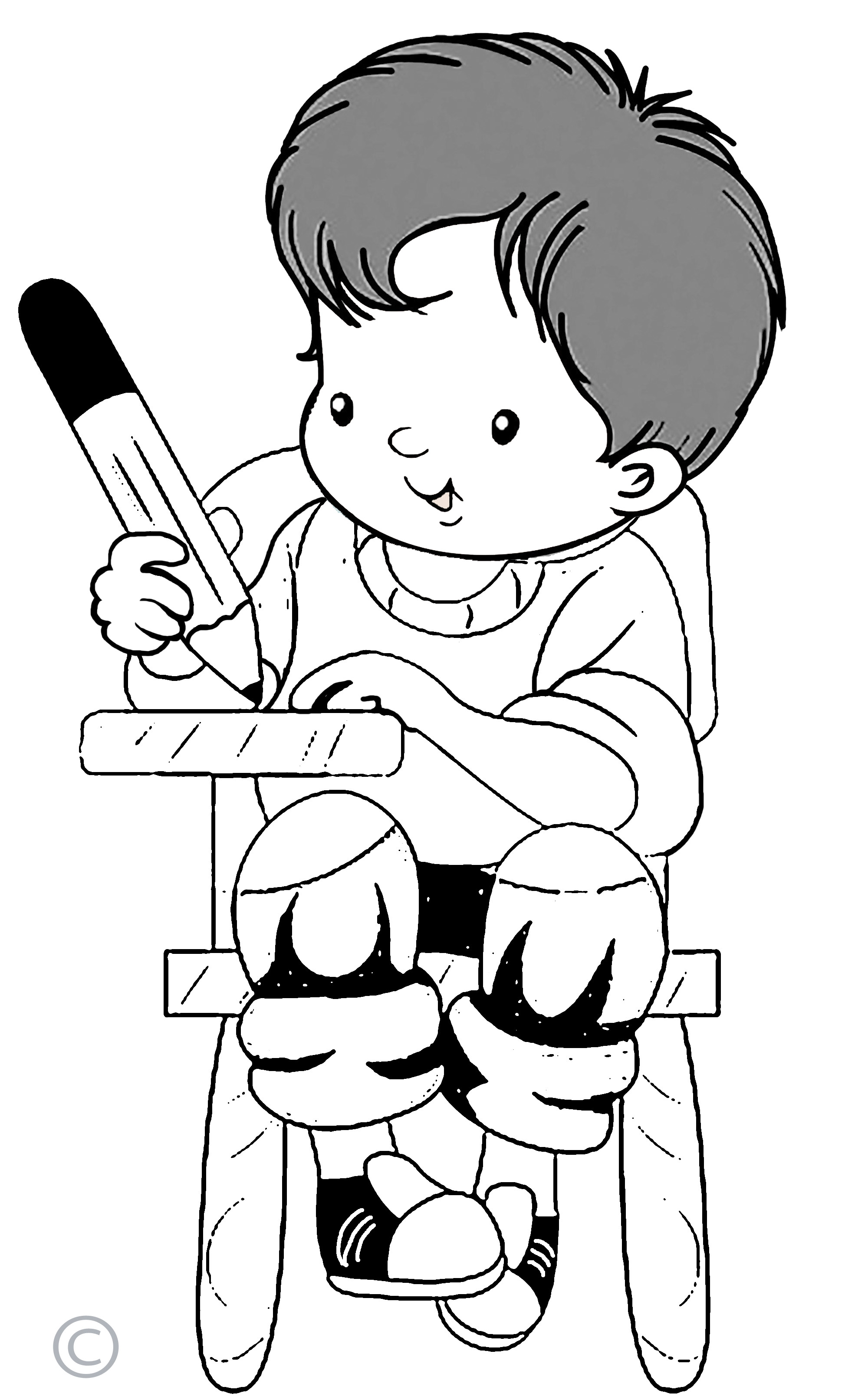 Kids Writing Clipart Black And White