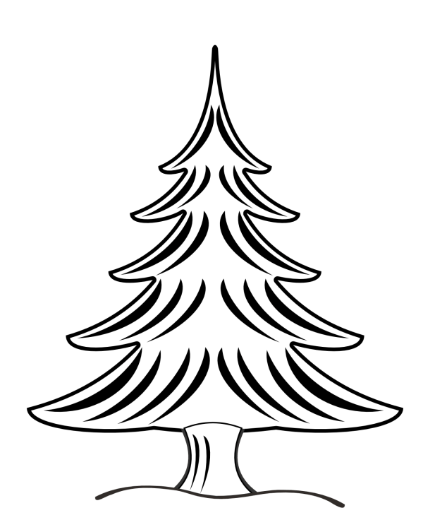 clip art christmas tree black