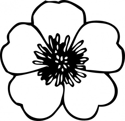 clip art flower black and white