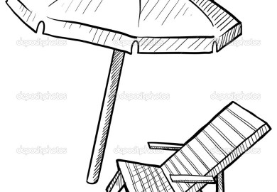 Beach Chair And Umbrella Coloring Page Free Printable