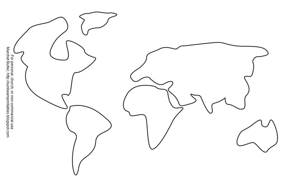 Continents And Oceans Coloring Sheet Coloring Pages