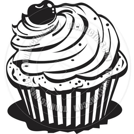 cupcake clip art black and white