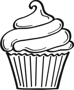 cupcake outline clipart black