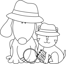 cat dog clip detective clipart cute cats dogs outline graphics library hat clipartpanda mycutegraphics panda presentations websites reports powerpoint projects