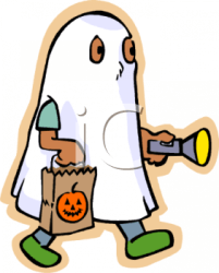 ghost halloween costume clipart cartoon trick flashlight holding child treating clip wearing cute pch boy dressed moving bag royalty clipartpanda