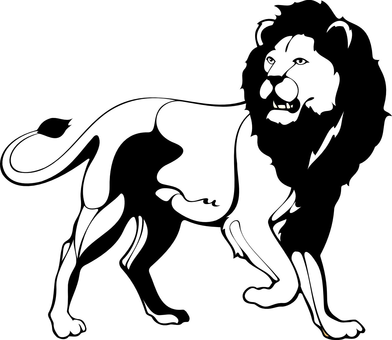 hight resolution of cute lion clipart black and white