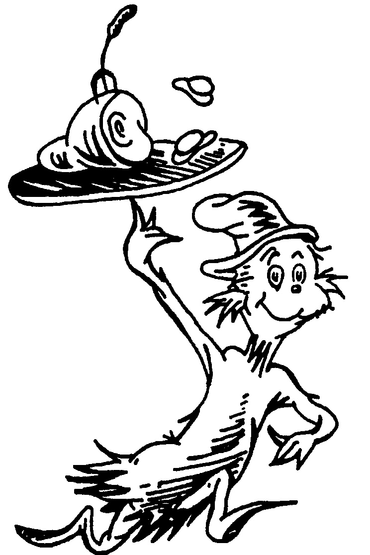 Black And White Cat In The Hat Coloring Page Of Picture