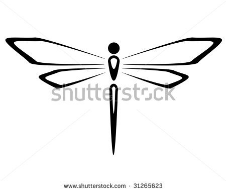 dragon fly clip art black and white
