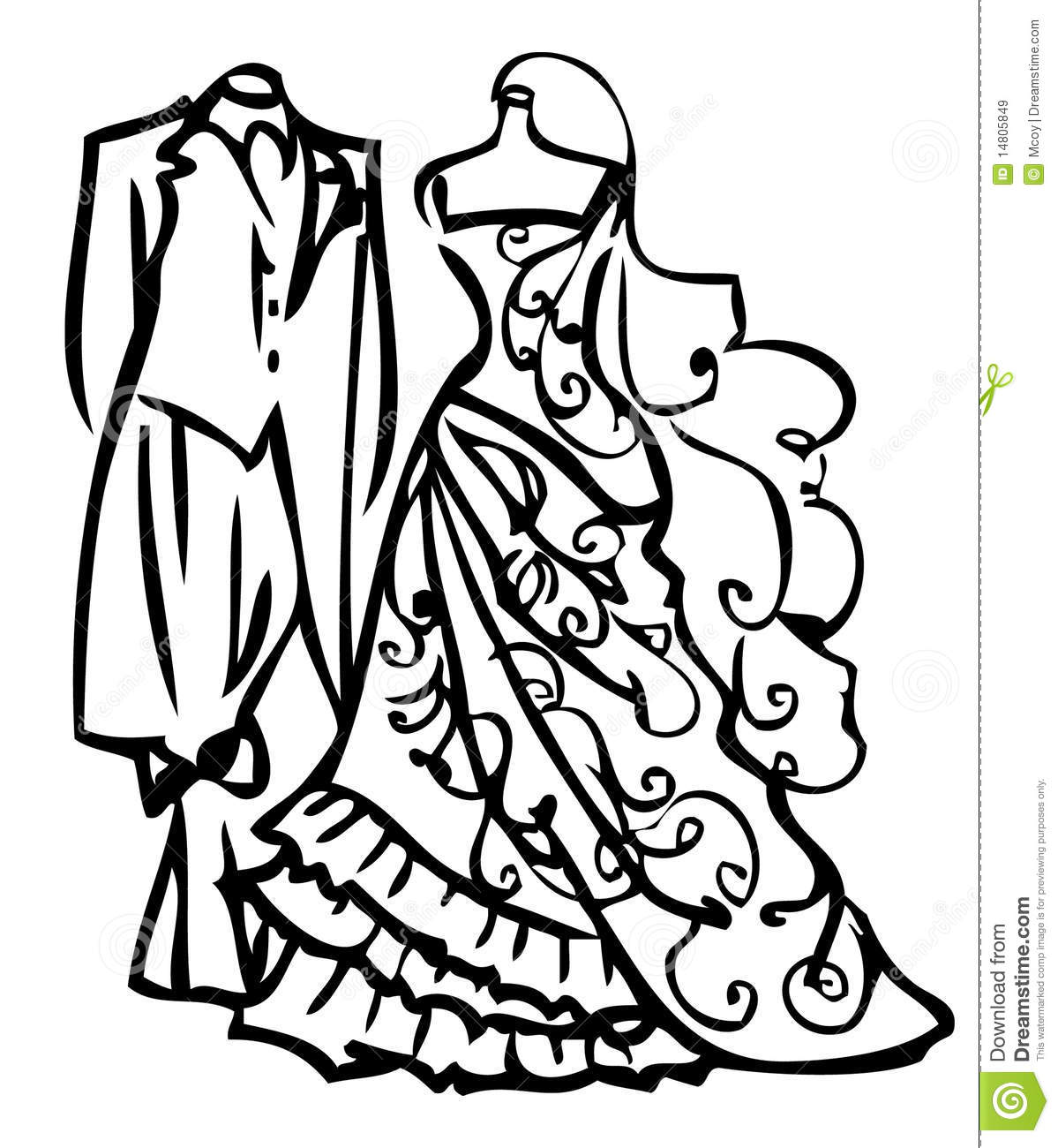 Dress On Hanger Clipart Black And White