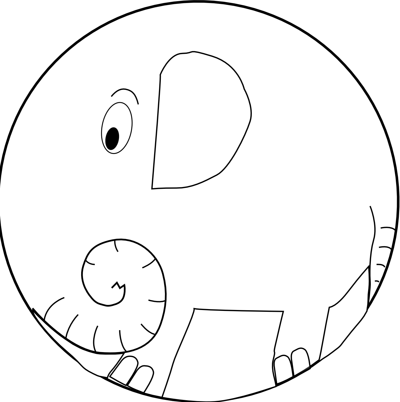 Cute Elephant Clipart Black And White