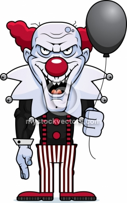 cartoon evil clown royalty clipart