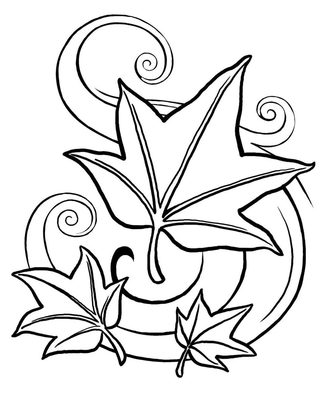 Fall Leaves Coloring Pages Clipart Panda