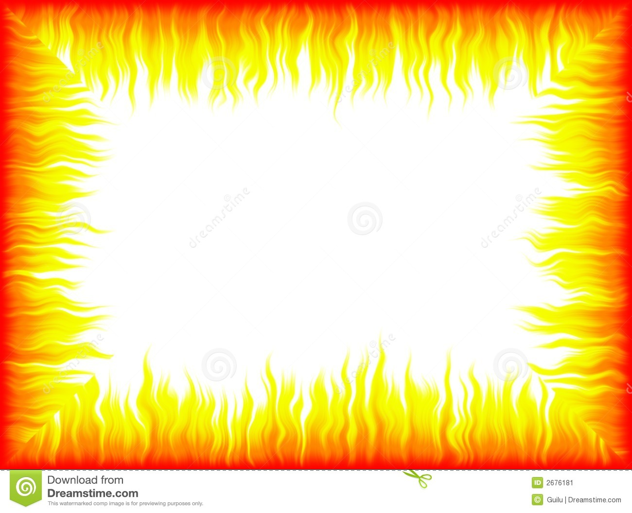 hight resolution of fire border with white background