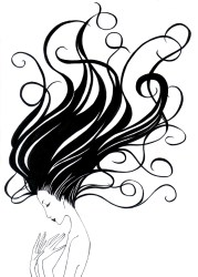 flowing hair drawing clipart